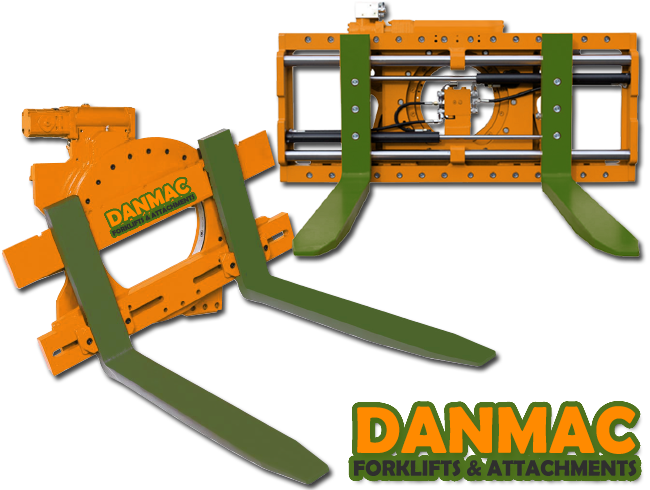 360 degree rotator forklift attachment, for empty bins, rotating loads, etc.