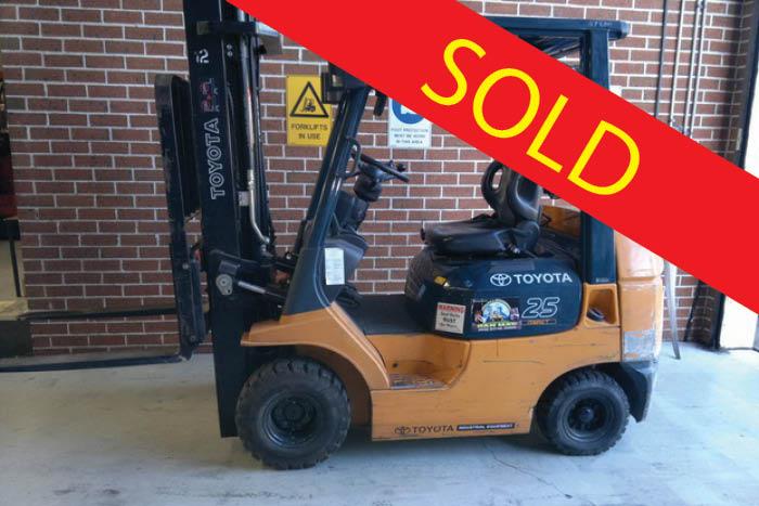 SOLD – Toyota 2.5 Tonne LPG Counter Balanced Forklift