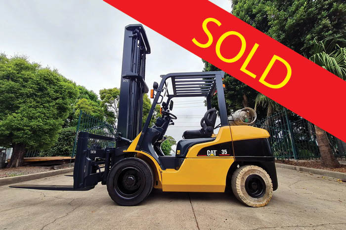 SOLD – Caterpillar 3.5 Tonne (3500kg) LPG Forklift
