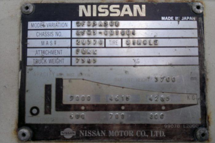 Nissan 5 Tonne LPG Counter Balanced Forklift